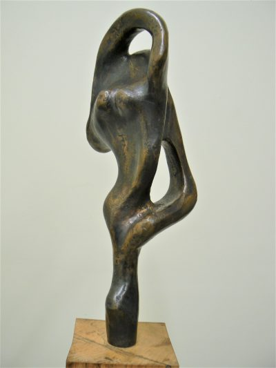 Two on One Point, cast bronze sculpture on pecan wood Abstract sculpture for sale