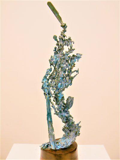 Martian Cactus, cast bronze on mahogany,