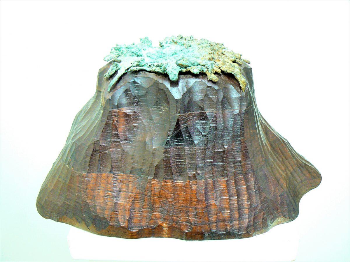 Volcano, bronze and laminated cedar