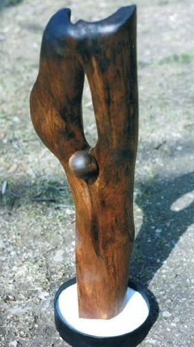 Praising Cactus, carved black walnut sand & painted steel