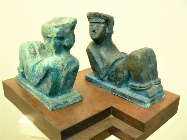 Twin Cac Mool, cast bronze and mahogany