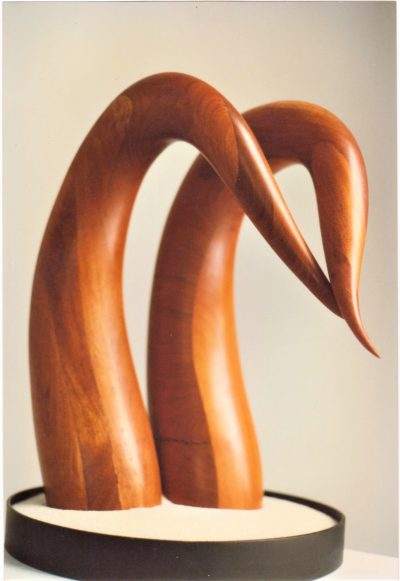 Kissing Swan, laminated cherry. Sculpture for sale