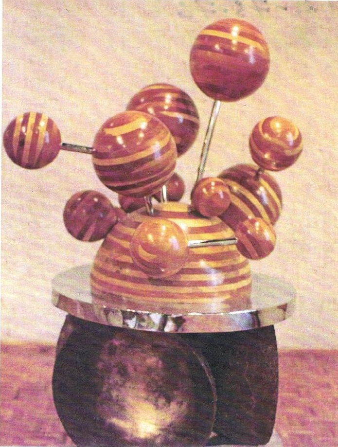 Sphere Sculpture, laminated pine and mahogany on chromepaleted steel and bronze