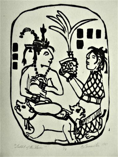 Tablet of Slaves, wood block print