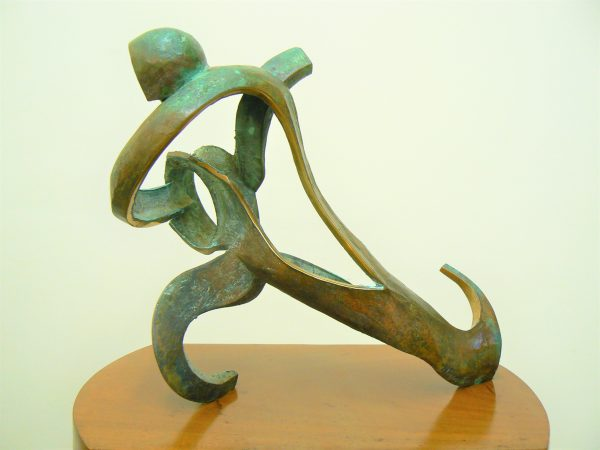 Football Player, cast bronze on walnut