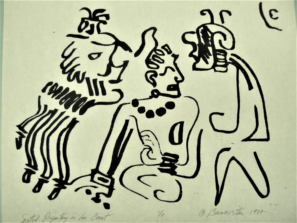 Seated Dignitary in her Court, wood block print