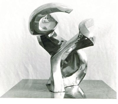 Dancing Couple, polished bronze on black marble