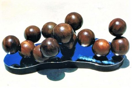 Molecular Structure, laminated mahogany on chromeplated steel,