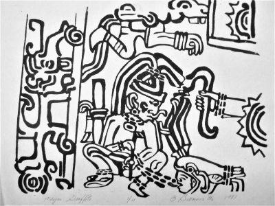 Mayan Graffito, wood block print