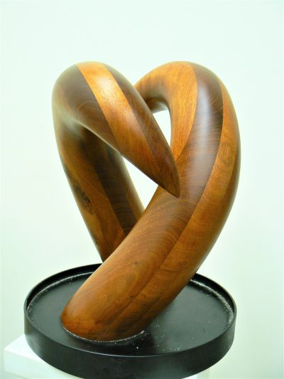 Kousting Swan, laminated mahogany on painted steel