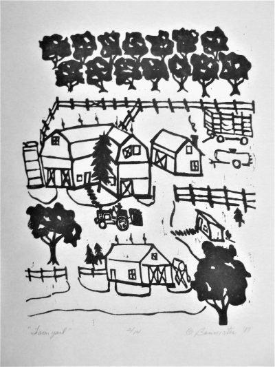Farm Yard, wood block print