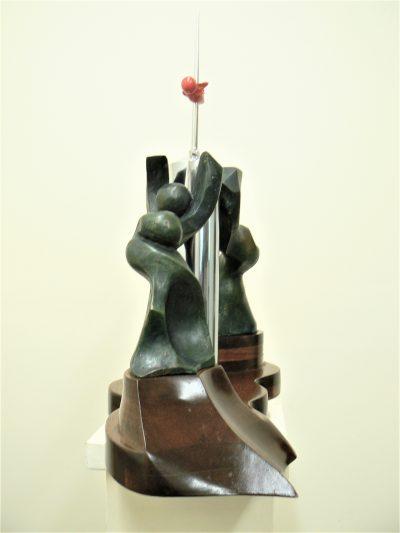 Women's Liberation, cast bronze, chrome steel, resin on mahogany