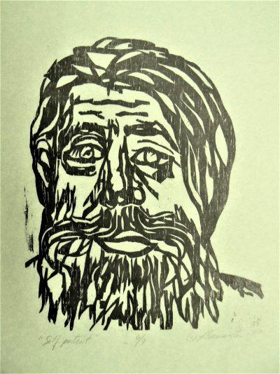 Self Portrait, wood block print