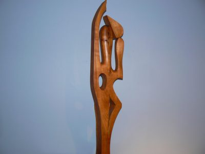 Africian Watter Carrier, carved cherry, 49.75 inches h.. Sculpture for sale