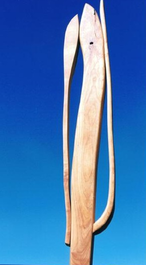 Cattail Cactus, cherry on painted steel and sand, 67.75 inches h. Sculpture for sale