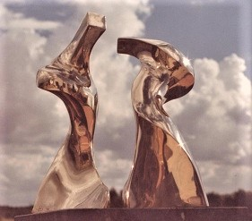Two Figures, polished bronze on black marble, base