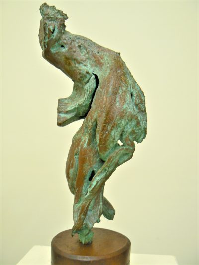 Smiling Dancing Lady, petina bronze Abstract sculpture for sale