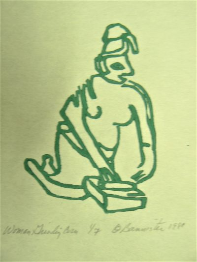 Woman Grinding Corn, wood block print