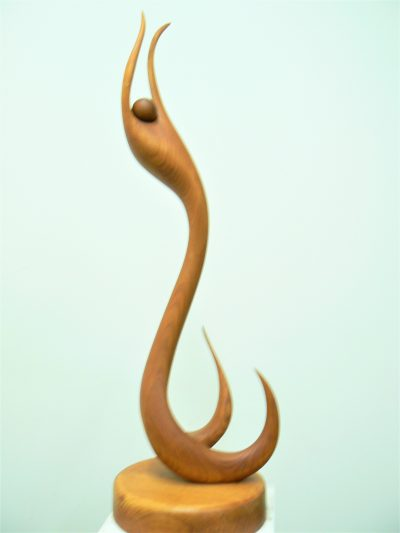 Dancing Swan with Sphere, laminated cherry. Sculpture for sale