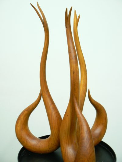 Gossiping Swan x2, laminated cherry on painted steel