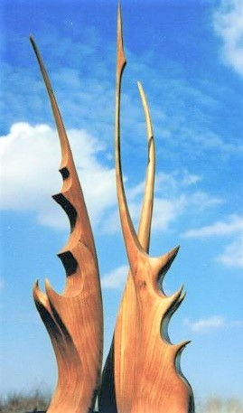 Antelope Horn Cactus x2, laminated cherry on painted steel