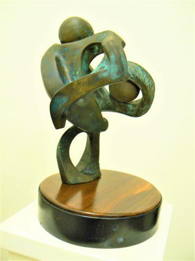 Discus Thrower, cast bronze on black walnut & painted steel