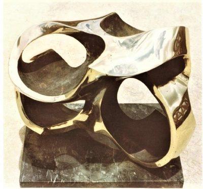 Pelvis, polished bronze on black marble