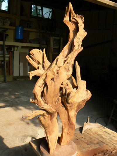 Holy Fire, carved cedar