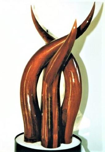 Silent Swan Singing, laminated mahogany,sand & painted steel