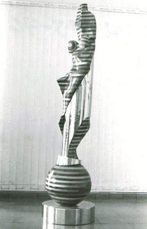 Hermaphrodite Sphinx, laminated pine & mahogany and chromeplated steel