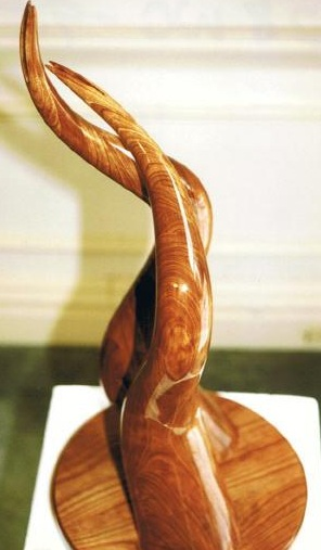Sharing Swan, laminated cherry Abstract sculpture for sale