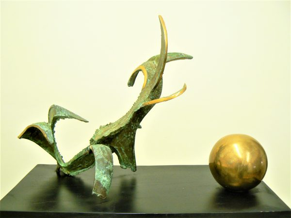 Humanoid Plant and Sphere, cast bronze, polished bronze on painted wood Abstract sculpture for sale