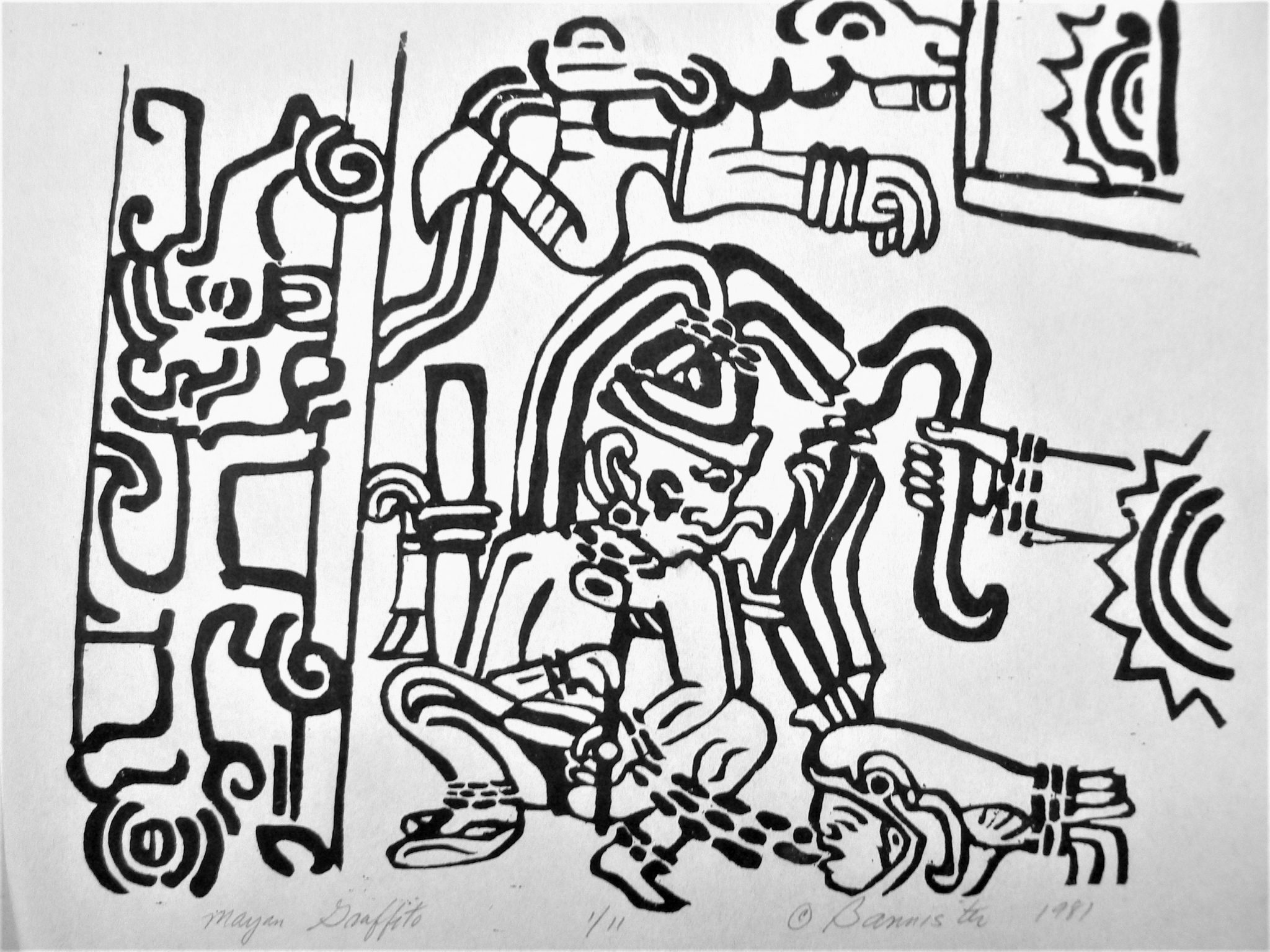 Mayan Graffito, wood block print
