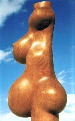 Large Hipped Lady, carved cherry