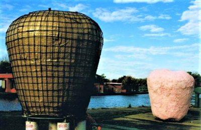 The Big Apple, steel armature, granite and fiberglass sculpture