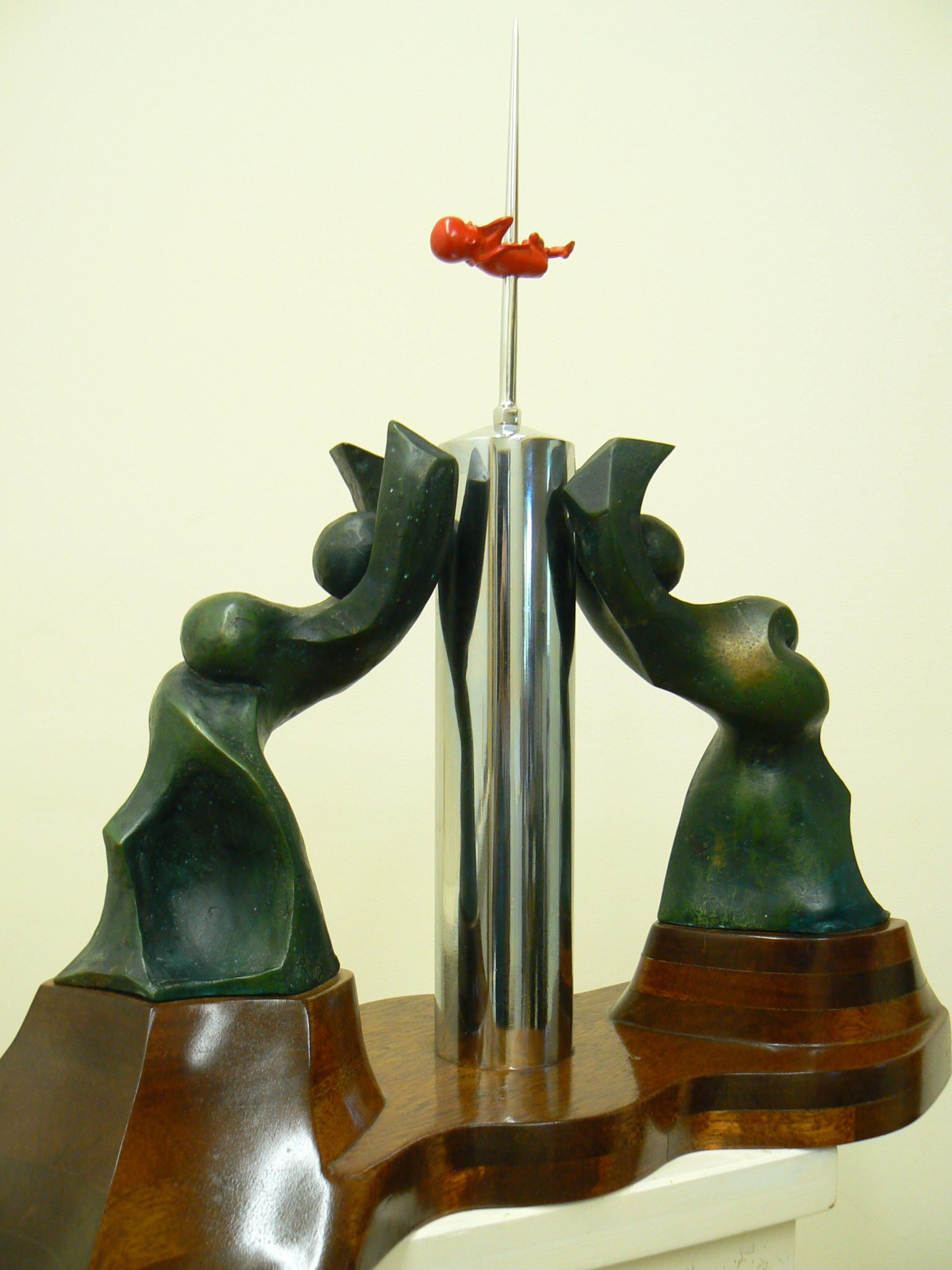 Women's Liberation, cast bronze, chrome steel, resin on mahogany