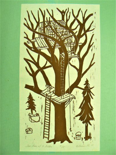 Tree House with Three Ladders, wood block print