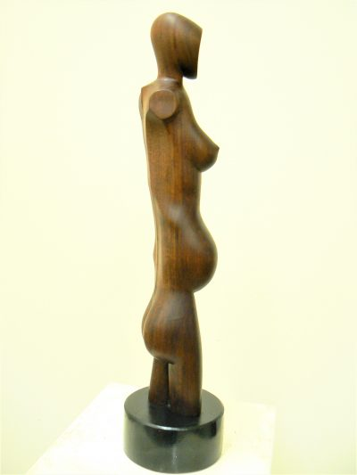 Thin Pregnant Woman, carved walnut,