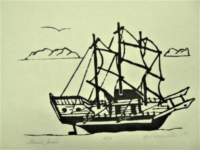 Chinese Junk, wood block print