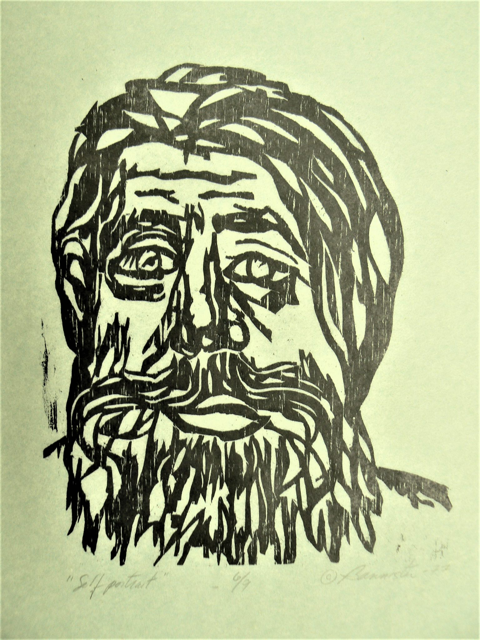 Self Portrait, wood block print