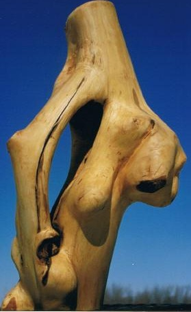 Breast Cancer, carved weeping willow