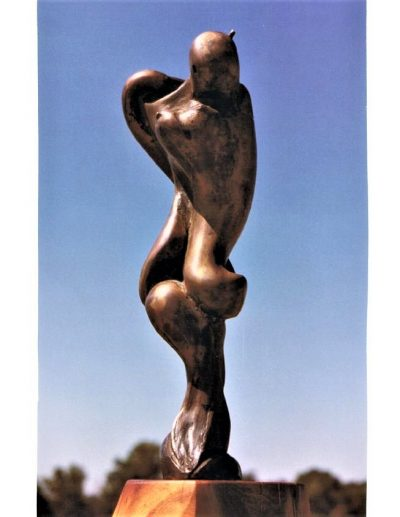 Moon Lady, cast bronze on mesquite Abstract sculpture for sale