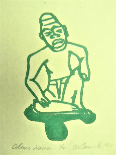 Olmec Warrior, wood block print