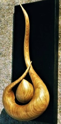 Serpent with Egg Sculpture for sale, carved cherry on painted pine