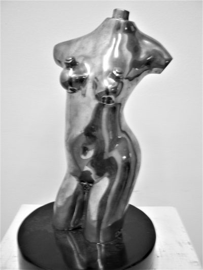 Susanne, polished bronze on painted wood