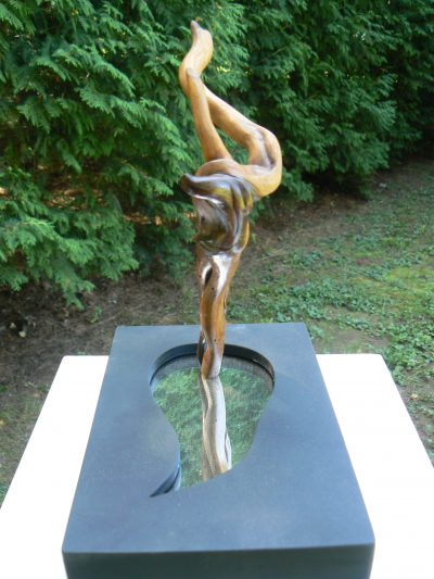 Lake Dancer, carved wood, mirror, painted pine