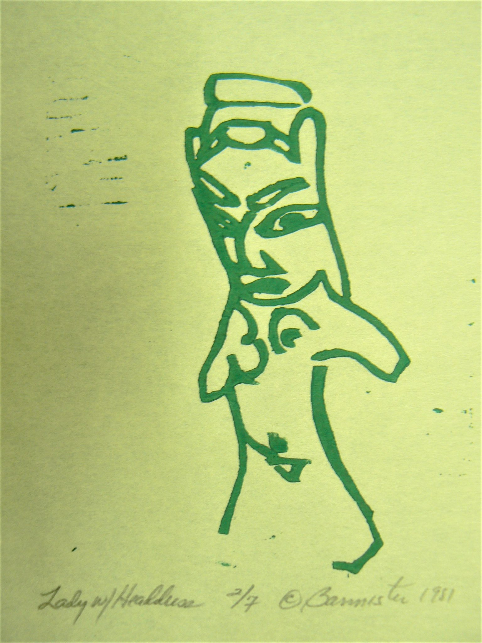 Lady with Headdress, wood block print